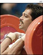 India's Satheesha Rai in action during the clean-and-jerk