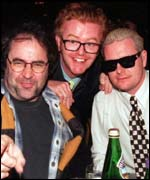 Danny Baker and Paul Gascoigne (right) with Evans