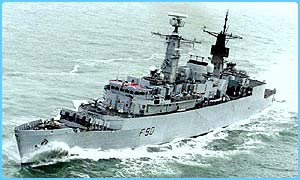 One of the Royal Navy's frigates, HMS Brilliant