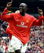 Dwight Yorke playing for Manchester United