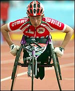 Tanni Grey-Thompson was fourth in the 800m wheelchair event