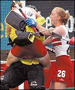 Mel Clewlow jumps into the arms of keeper Hilary Rose after the final whistle