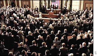 The US Congress being addressed by President Bush