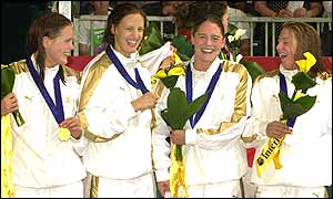 Jo Fargus, Karen Pickering, Georgie Lee and Karen Legg celebrate their gold medals