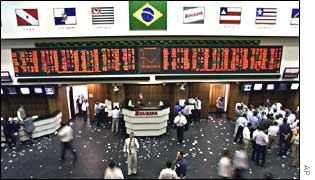 The Bovespa exchange in Sao Paulo, Brazil