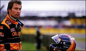 Heinz-Harald Frentzen watches from the pits at the British Grand Prix