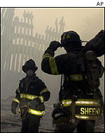 Fire fighters at the  World Trade Center