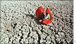 Woman in parched field in Rajasthan