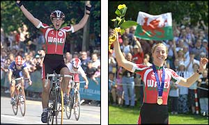 19-year-old Nicole Cooke of Wales celebrates after taking her first senior title at Rivington