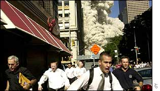 People running from the WTC site