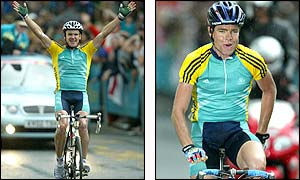 Australia's Stuart O'Grady celebrates victory (left) while an exhausted Cadel Evans takes the silver medal