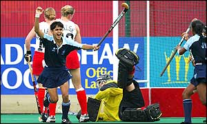 India's Mamta Kharab celebrates scoring the opening goal of the final against England