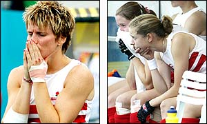 England players are inconsolable at losing the women's hockey final in such controversial circumstances
