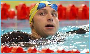 Ian Thorpe after coming second in the 100m backstroke