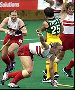 Kate Walsh celebrates scoring the first goal against Australia