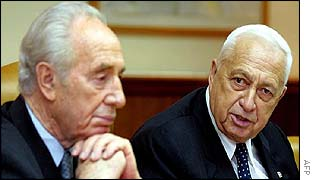 Israeli Prime Minister Ariel Sharon speaking at a cabinet meeting