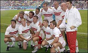 The England sevens squad after victory against Australia in the Plate final