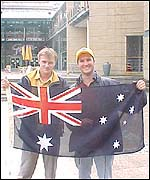 The Australian boys cheered on their compatriots in Sunday's triathlon