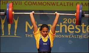 Sixteen year old, Sheba Deireragea of Nauru wins Bronze for the Clean and Jerk in the women's upto 69kgs