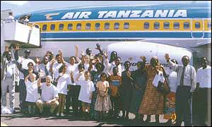 Air Tanzania plane and staff