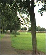 A park in Leicester where the lightning struck