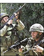 Israeli soldiers on patrol near the West Bank town of Nablus