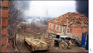 Russian tank in Chechnya