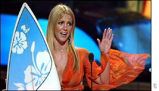 Britney Spears accepts her award for Choice Female Artist at the Teen Choice Awards in Los Angeles