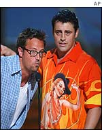 Matthew Perry, left, and Matt LeBlanc accept the Choice TV Comedy Award for their show Friends at the Teen Choice Awards 2002