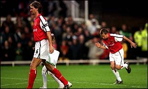 Tony Adams walks out with his children Amber and Oliver before his testimonial against Celtic