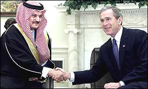 Saudi Foreign Minister Prince Saud al-Faisal [l] with US President George W Bush
