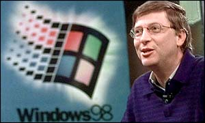 Bill Gates and Microsoft logo