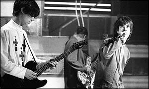 John Squire with the Stone Roses on Top of the Pops in 1989