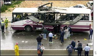 A bus blown up by a suicide bomber in the Arab Israeli town of Um el Fahm