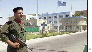 Iraqi soldier outside UN base in Iraq