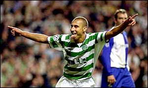 Celtic's Henrik Larsson celebrates a goal against FC Porto in last season's UEFA Champions League
