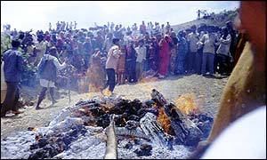 Funeral pyre at village of Tamoli Patna in Panna district