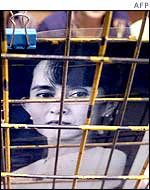 Poster of Aung San Suu Kyi on a fence