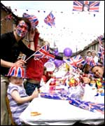 Locals celebrate Queen Elizabeth IIs Golden Jubilee at a street party in the Village area of South Belfast