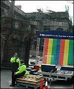 Make-shift stage on the Edinburgh's Royal Mile