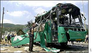 Remains of a bus bombed on 4 August in northern Israel