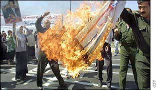Iraqis torch an American flag at a demonstration in Baghdad 05 August 2002