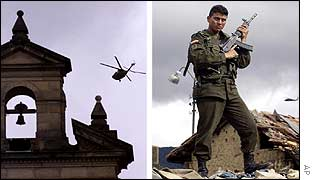 An army helicopter circles a Bogota church [l] as a soldier stands guard