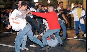 English and Tunisian fans fight in Marseilles in 1998 World Cup