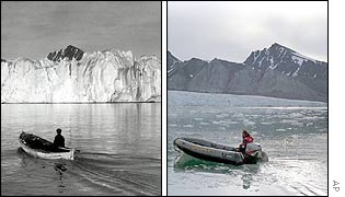 The Norwegian island of Svalbard, in a Norwegian Polar Institute photo taken in  1918 (l); Greenpeace photo of same island in 2002 (r)