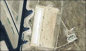 January 2002 and the first signs of construction work at the Al Udeid base are clear [Picture: DigitalGlobe]
