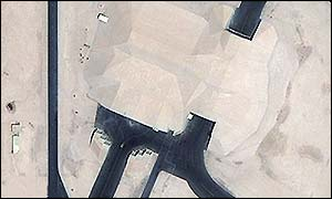 This large structure is a hardened concrete aircraft shelter [Picture: DigitalGlobe/ Global Security.org]