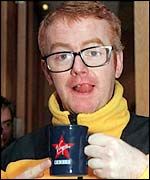 Chris Evans with a Virgin mug