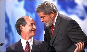 Brazilian left-winger Luiz Inacio Lula da Silva (right) and running mate Ciro Gomes