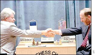 Boris Spassky and Bobby Fischer (right)